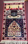 Vintage Turkish Prayer Rug Tapestry Wall Hanging Boho Beauty 47X25 in.