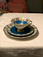 Vintage Z & Co Tirschenreuth Baveria Tea Cup Saucer Set Trio Gold Trim Teal Gree