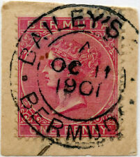 More details for bermuda qv penny on piece dated postmark baileys bay 11 oct 1901