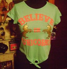 NWT- LOVE AT FIRST SIGHT, GIRLS XL (14,16) BELIEVE IN UNICORNS TOP/BLOUSE