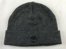 TIMBERLAND Black Beanie Cap Hat One Size Knit Winter Black Logo Fold Up