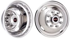 99-07 GMC 3500 DUALLY 16 INCH STAINLESS STEEL HUBCAPS SIMULATORS WITH GMC LOGOS