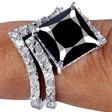 925 Sterling Silver Bridal Ring 5+Ct Black Moissanite/White Natural Raw Diamond