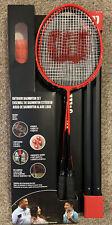 Wilson Outdoor Badminton Set 4 Hypersteel Racquets 4 Shuttlecocks 20 ft Net Red