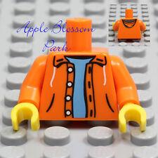 NEW Lego Boy/Girl MINIFIG TORSO -Orange Hood Jacket Blue Shirt Hoodie Sweatshirt