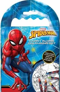 Marvel Spider-Man Carry Along Colouring Set - 5 Crayons 64 Colour In Sheets