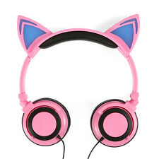 US Foldable Cat Ear LED Music Lights Headphones Handsfree Earphone for HUAWEI P6