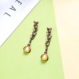 Lon Drop Dangle Yellow Topaz, Pink Sapphire 18K Gold Plated Earrings
