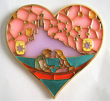 RAPUNZEL & FLYNN RIDER LANTERN TANGLED STAINED GLASS HEART 3.5 in FANTASY PIN 75