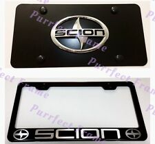 Scion Stainless Black Front License Plate & Frame Combo Rust Free