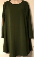 A.gain Long Sleeve Green Tunic Shirt Dress Plus Size M Suede Elbows Boutique