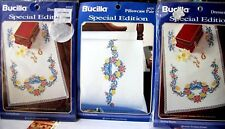 "3 kits Stamped Xstitch Bucilla ""LOVING HEARTS"" 2 dresser scarf, pillowcases"