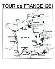 1981 Original Photo by NBC map of 68th Tour de France professional bicycle race