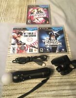 Playstation Move Bundle Controller PS3 Camera & 3 Games Tested Works