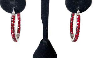 Stainless Steel 316L Inside Outside Red Crystal Hoop Earrings