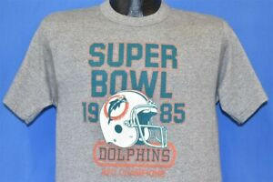 vtg 80s MIAMI DOLPHINS 1985 SUPER BOWL AFC CHAMPS LOGO 7 NFL t-shirt FOOTBALL M