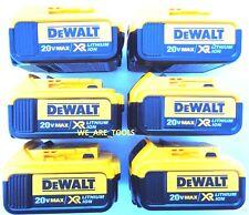 (6) New Genuine Dewalt 20V DCB204 4.0 AH Battery For Drill, Saw, Grinder 20 Volt