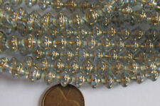25 Czech Glass 8mm Gold-Etched Lt Sapphire Blue Saturn Saucer Beads