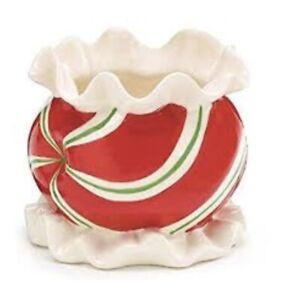 Christmas Pepperint Swirl Ceramic Planter /  Candy Dish
