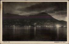 Hong Kong Hongkong China at Night 1927 Used Real Photo Postcard Missing Stamp