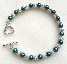 Beautiful Dark Green Glass Pearl & Silver Coloured Filigree Bead T-Bar Bracelet