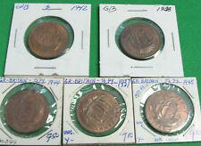 Great Britain  1937 1938 1942 1944 1945  half penny  AU +  tot UNC