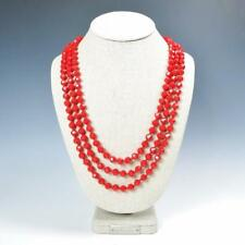 """Sparkling Faceted Bright Red Crystals Bead Knotted 72"""" Long Strand Wrap Necklace"""