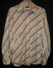 7 Diamonds Medium Long Sleeve Shirt 70's Inspired Distressed Colorful Stripes