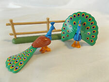 Playmobil 2 Country Peacock Birds on Fence, Male, Female, Farm, Zoo Park Animals