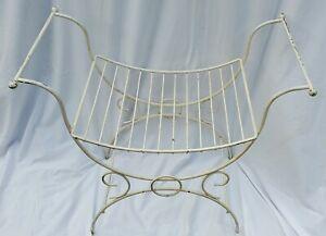 Vintage MCM White Metal Vanity Foot Stool Bench Ottoman Hollywood Regency