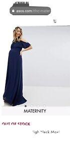 TFNC Maternity High Neck Maxi Bridesmaid Dress With Fishtail size 10