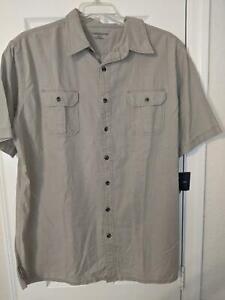 Croft&Barrow Button Down Short Sleeve Shirt Khaki Sz XLT