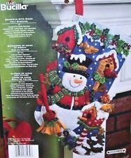 "Bucilla SNOWMAN WITH BIRDS Felt Christmas Stocking Kit Cardinals OOP New18"" F.D."