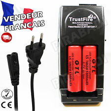 2 PILES ACCUS RECHARGEABLE 18650 3.7V 5300mAh + CHARGEUR TR-001 TRUSTFIRE RAPIDE