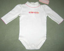 New GYMBOREE Size 0-3 Months White Long Sleeves Snap Crotch Bodysuit