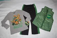 Boys 3 PC SET Sweatpants QUILTED VEST Shirt NINJA TURTLES TMNT Green Black 5-6
