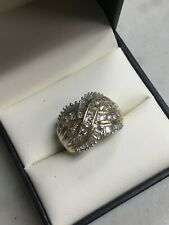 14K YELLOW GOLD BAGUETTE & ROUND DIAMOND 1.66 TCW  COCKTAIL RING