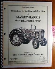 Massey Harris 55 55k Tractor Owners Operators Amp Care Manual 694 006 M95 253