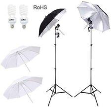 """Studio Lighting Kit–33"""" Umbrella(2 WT+2 BK/Silver),2 Stands,2 Sockets,2 45W CFL"""