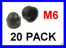 Black Plastic Nut Cover Caps .. M6 - 20 Pack 10mm Spanner