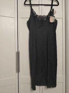 Vintage Olga Shimmerlilies Dress Slip Sz 36 BLACK Lace 25 inch Knee Length NWT