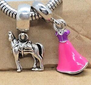 Disney Character Princess Rapunzel Dress Maximus Horse European Bead Charms Set