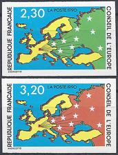 TIMBRE DE SERVICE CONSEIL EUROPE N°104/105 NON DENTELÉ IMPERF 1990 NEUF ** MNH