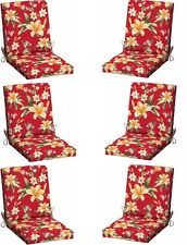Red Patio Chair Cushion Set of 6 Outdoor Dining Chair Cushions Replacement Pads