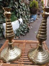 Pair of ornate 10 inch tall vintage Decorated  SOLID BRASS STICKS CANDLESTICKS