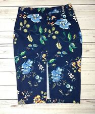 River Island Floral Print Needle Cord Pencil Skirt Size UK 12