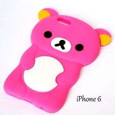 For iPhone 6 / 6S - SOFT SILICONE GUMMY RUBBER SKIN CASE COVER PINK TEDDY BEAR