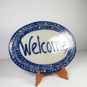 """Mexican Pottery Plate """"Welcome"""" Sign Front Door Housewarming Unique Gift Ideas"""