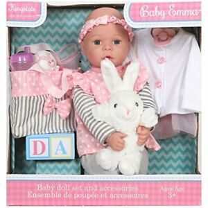 Kingstate Baby Emma Doll Set Accessories Diaper Bag Outfit Rattle Sippy Cup Toy