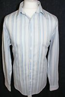 JEFF BANKS Mens Casual White & Blue Striped Long Sleeved Shirt Size Large
